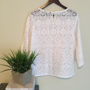 Banana Republic Tops - BR White Lace Flare Sleeve Top Size Small